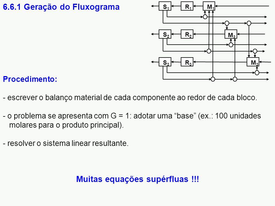 """Procedimento: - escrever o balanço material de cada componente ao redor de cada bloco. - o problema se apresenta com G = 1: adotar uma """"base"""" (ex.: 10"""