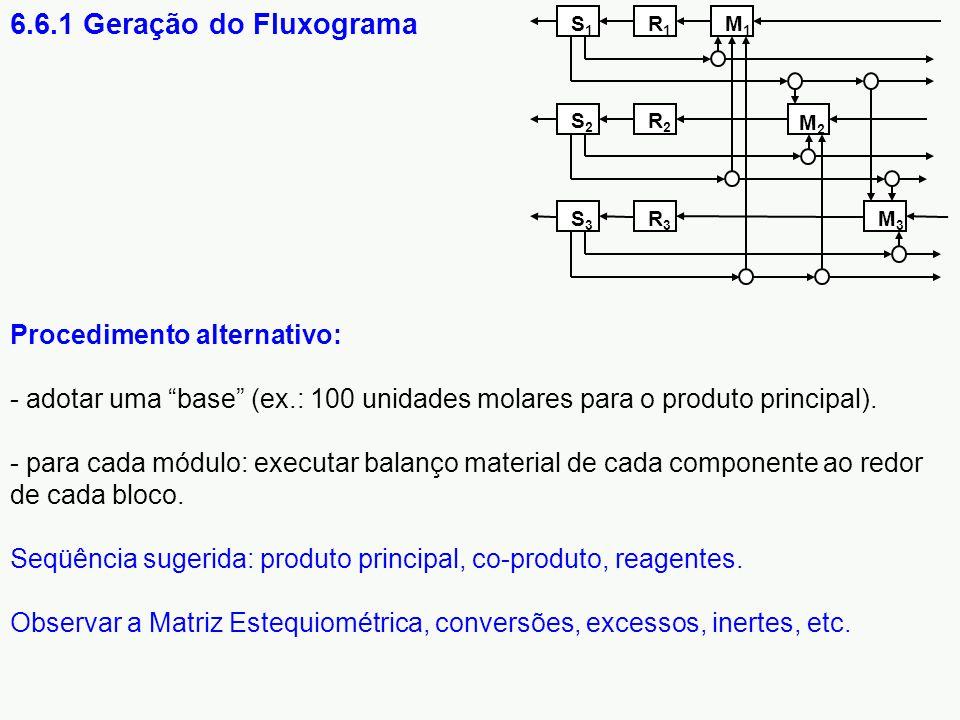 """Procedimento alternativo: - adotar uma """"base"""" (ex.: 100 unidades molares para o produto principal). - para cada módulo: executar balanço material de c"""