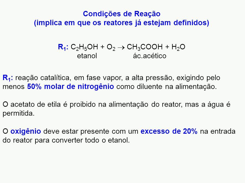 R 1 : reação catalítica, em fase vapor, a alta pressão, exigindo pelo menos 50% molar de nitrogênio como diluente na alimentação. O acetato de etila é
