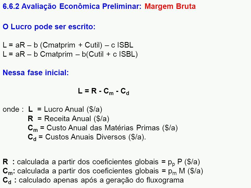 Nessa fase inicial: L = R - C m - C d onde : L = Lucro Anual ($/a) R = Receita Anual ($/a) C m = Custo Anual das Matérias Primas ($/a) C d = Custos An