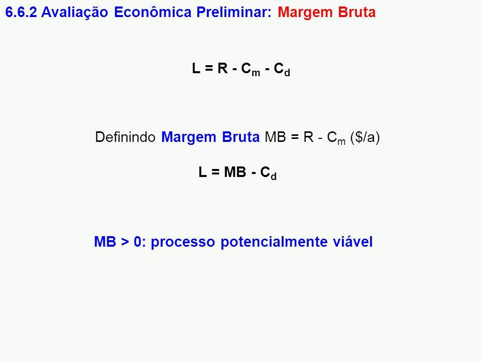 6.6.2 Avaliação Econômica Preliminar: Margem Bruta Definindo Margem Bruta MB = R - C m ($/a) L = MB - C d MB > 0: processo potencialmente viável L = R