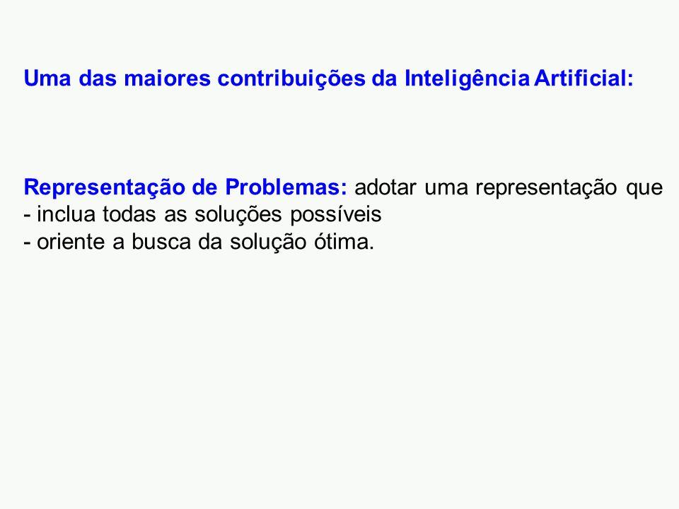 Uma das maiores contribuições da Inteligência Artificial: Representação de Problemas: adotar uma representação que - inclua todas as soluções possíveis - oriente a busca da solução ótima.