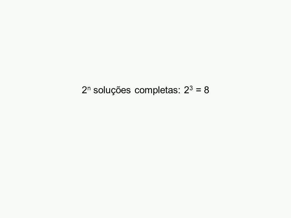 2 n soluções completas: 2 3 = 8