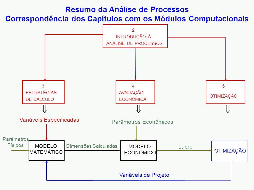 OTIMIZAÇÃO Variáveis Especificadas Variáveis de Projeto Parâmetros Econômicos Parâmetros Físicos MODELO MATEMÁTICO MODELO ECONÔMICO Dimensões Calculadas Lucro ESTRATÉGIAS DE CÁLCULO 3 INTRODUÇÃO À ANÁLISE DE PROCESSOS 2 AVALIAÇÃO ECONÔMICA 4 OTIMIZAÇÃO 5    Resumo da Análise de Processos Correspondência dos Capítulos com os Módulos Computacionais