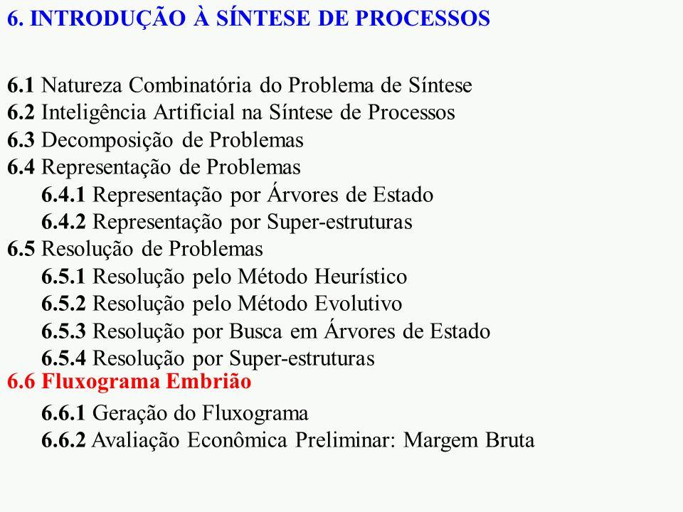 6.1 Natureza Combinatória do Problema de Síntese 6.2 Inteligência Artificial na Síntese de Processos 6.3 Decomposição de Problemas 6.4 Representação de Problemas 6.4.1 Representação por Árvores de Estado 6.4.2 Representação por Super-estruturas 6.5 Resolução de Problemas 6.5.1 Resolução pelo Método Heurístico 6.5.2 Resolução pelo Método Evolutivo 6.5.3 Resolução por Busca em Árvores de Estado 6.5.4 Resolução por Super-estruturas 6.6.1 Geração do Fluxograma 6.6.2 Avaliação Econômica Preliminar: Margem Bruta 6.