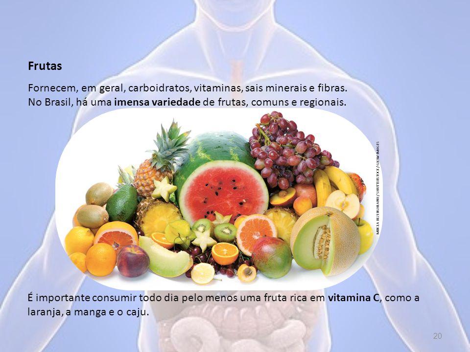 Frutas É importante consumir todo dia pelo menos uma fruta rica em vitamina C, como a laranja, a manga e o caju.