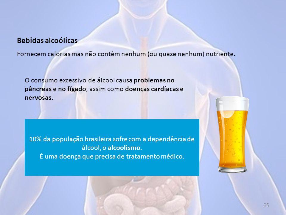 Bebidas alcoólicas O consumo excessivo de álcool causa problemas no pâncreas e no fígado, assim como doenças cardíacas e nervosas.