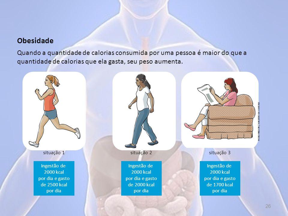 Obesidade Quando a quantidade de calorias consumida por uma pessoa é maior do que a quantidade de calorias que ela gasta, seu peso aumenta.