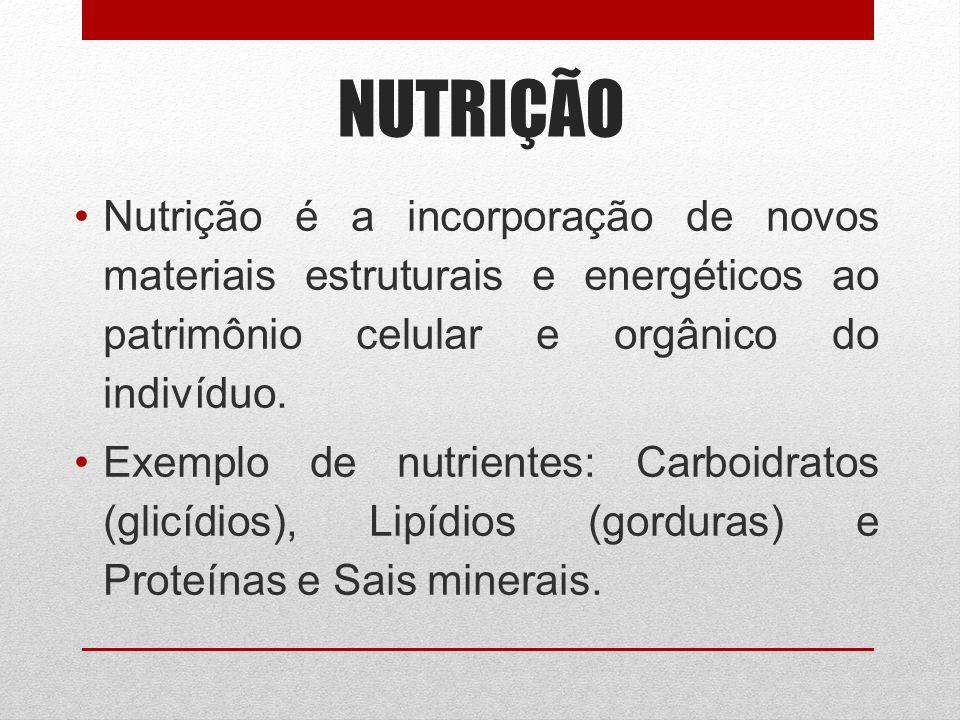 NUTRIÇÃO Nutrição é a incorporação de novos materiais estruturais e energéticos ao patrimônio celular e orgânico do indivíduo. Exemplo de nutrientes: