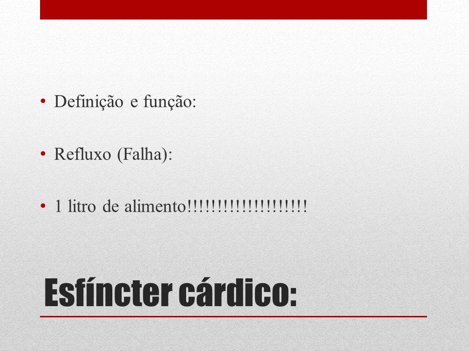 Esfíncter cárdico: Definição e função: Refluxo (Falha): 1 litro de alimento!!!!!!!!!!!!!!!!!!!!