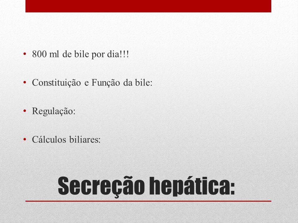 Secreção hepática: 800 ml de bile por dia!!! Constituição e Função da bile: Regulação: Cálculos biliares: