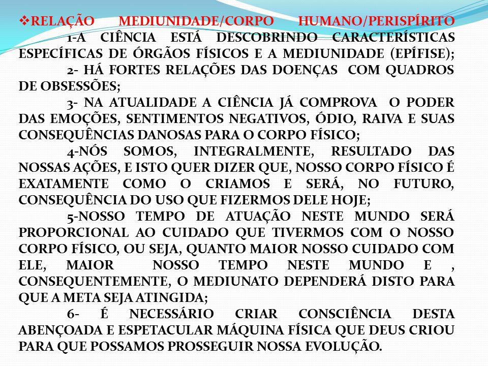  RELAÇÃO MEDIUNIDADE/CORPO HUMANO/PERISPÍRITO 1-A CIÊNCIA ESTÁ DESCOBRINDO CARACTERÍSTICAS ESPECÍFICAS DE ÓRGÃOS FÍSICOS E A MEDIUNIDADE (EPÍFISE); 2- HÁ FORTES RELAÇÕES DAS DOENÇAS COM QUADROS DE OBSESSÕES; 3- NA ATUALIDADE A CIÊNCIA JÁ COMPROVA O PODER DAS EMOÇÕES, SENTIMENTOS NEGATIVOS, ÓDIO, RAIVA E SUAS CONSEQUÊNCIAS DANOSAS PARA O CORPO FÍSICO; 4-NÓS SOMOS, INTEGRALMENTE, RESULTADO DAS NOSSAS AÇÕES, E ISTO QUER DIZER QUE, NOSSO CORPO FÍSICO É EXATAMENTE COMO O CRIAMOS E SERÁ, NO FUTURO, CONSEQUÊNCIA DO USO QUE FIZERMOS DELE HOJE; 5-NOSSO TEMPO DE ATUAÇÃO NESTE MUNDO SERÁ PROPORCIONAL AO CUIDADO QUE TIVERMOS COM O NOSSO CORPO FÍSICO, OU SEJA, QUANTO MAIOR NOSSO CUIDADO COM ELE, MAIOR NOSSO TEMPO NESTE MUNDO E, CONSEQUENTEMENTE, O MEDIUNATO DEPENDERÁ DISTO PARA QUE A META SEJA ATINGIDA; 6- É NECESSÁRIO CRIAR CONSCIÊNCIA DESTA ABENÇOADA E ESPETACULAR MÁQUINA FÍSICA QUE DEUS CRIOU PARA QUE POSSAMOS PROSSEGUIR NOSSA EVOLUÇÃO.
