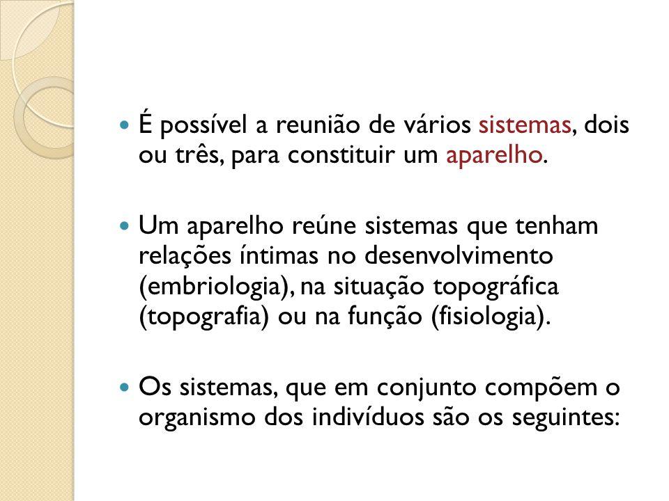 É possível a reunião de vários sistemas, dois ou três, para constituir um aparelho. Um aparelho reúne sistemas que tenham relações íntimas no desenvol