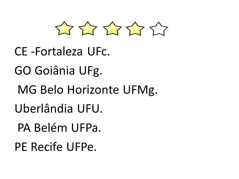 CE -Fortaleza UFc. GO Goiânia UFg. MG Belo Horizonte UFMg. Uberlândia UFU. PA Belém UFPa. PE Recife UFPe.