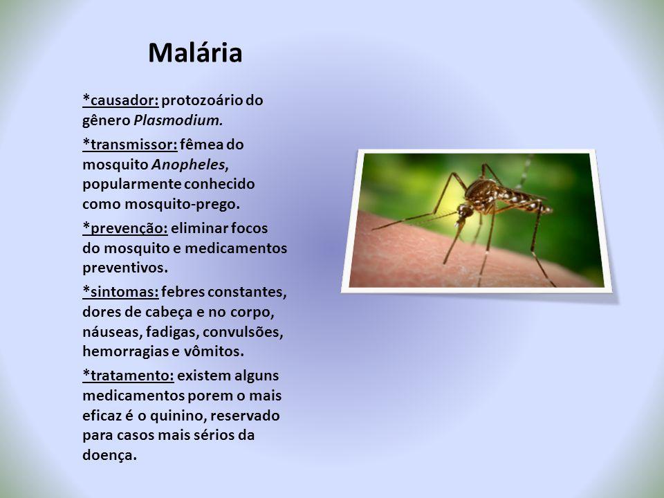 Malária *causador: protozoário do gênero Plasmodium. *transmissor: fêmea do mosquito Anopheles, popularmente conhecido como mosquito-prego. *prevenção
