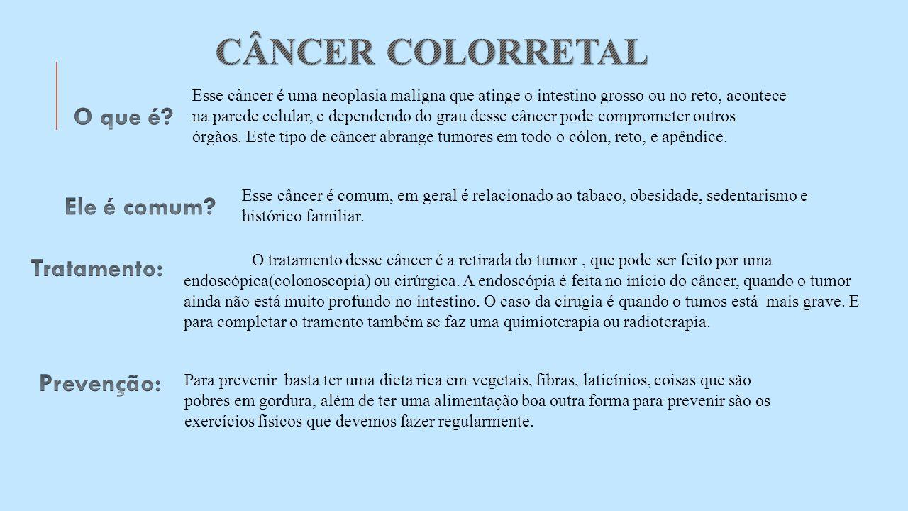 O tratamento desse câncer é a retirada do tumor, que pode ser feito por uma endoscópica(colonoscopia) ou cirúrgica. A endoscópia é feita no início do