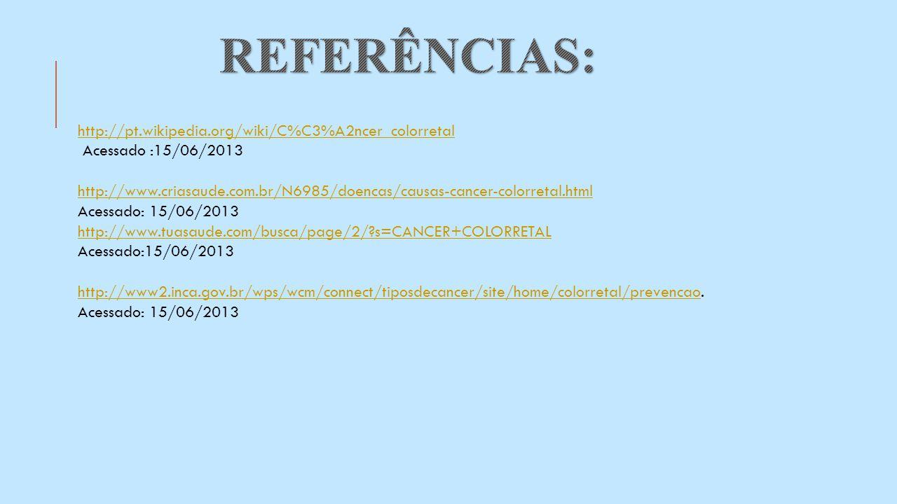 http://pt.wikipedia.org/wiki/C%C3%A2ncer_colorretal Acessado :15/06/2013 http://www.criasaude.com.br/N6985/doencas/causas-cancer-colorretal.html Acess