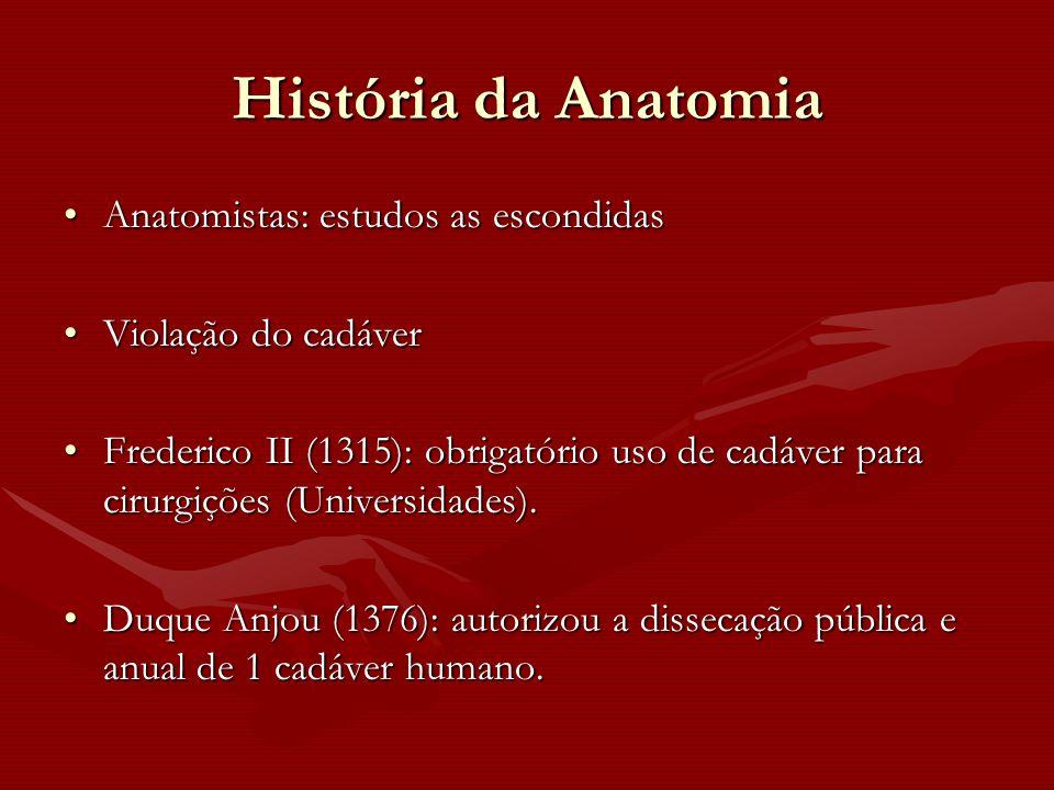 História da Anatomia Anatomistas: estudos as escondidasAnatomistas: estudos as escondidas Violação do cadáverViolação do cadáver Frederico II (1315):