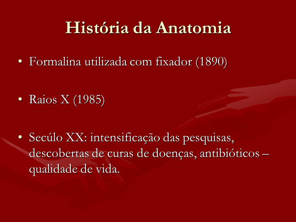 História da Anatomia Formalina utilizada com fixador (1890)Formalina utilizada com fixador (1890) Raios X (1985)Raios X (1985) Secúlo XX: intensificaç