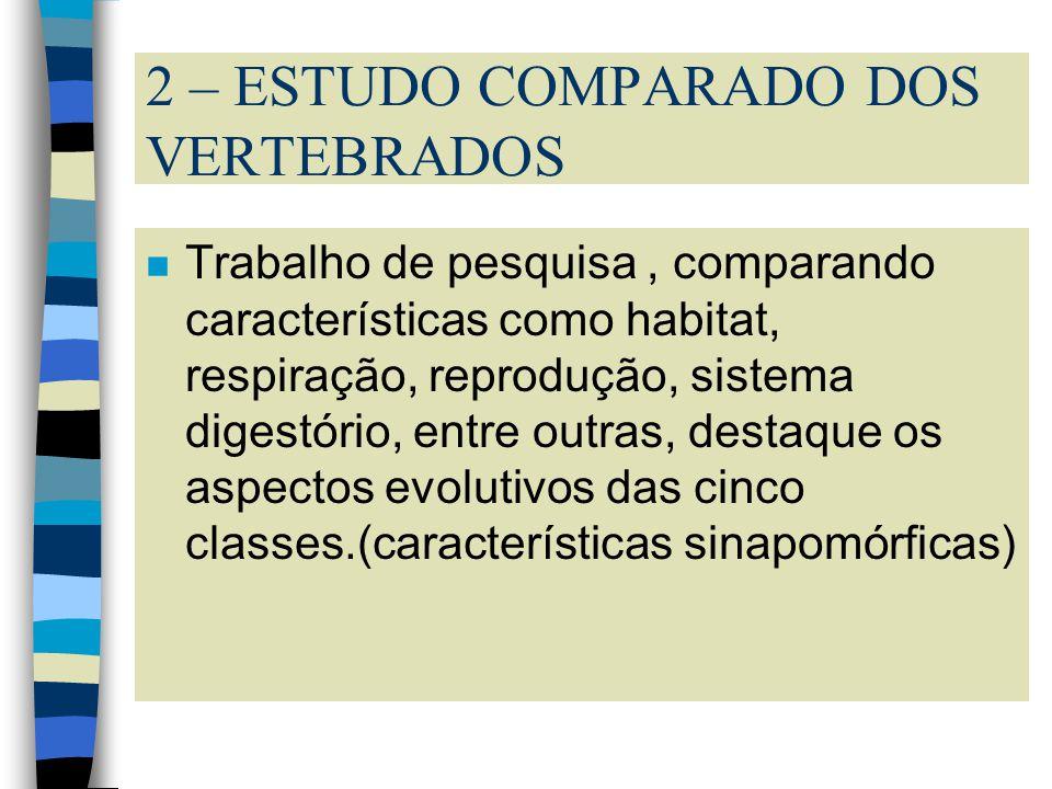 2 – ESTUDO COMPARADO DOS VERTEBRADOS nTnTrabalho de pesquisa, comparando características como habitat, respiração, reprodução, sistema digestório, ent