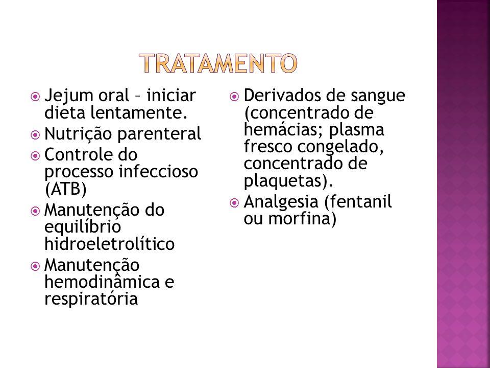  Jejum oral – iniciar dieta lentamente.  Nutrição parenteral  Controle do processo infeccioso (ATB)  Manutenção do equilíbrio hidroeletrolítico 