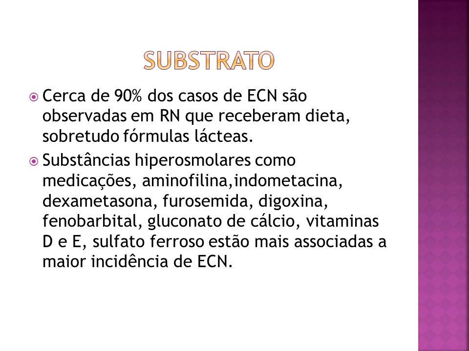  Cerca de 90% dos casos de ECN são observadas em RN que receberam dieta, sobretudo fórmulas lácteas.  Substâncias hiperosmolares como medicações, am