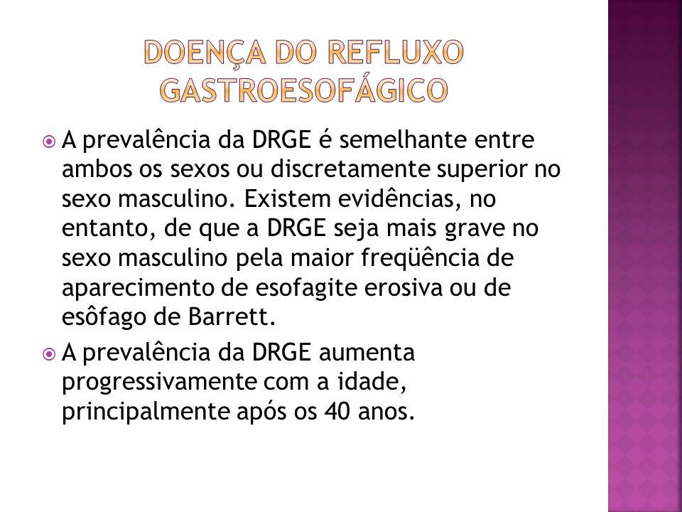  A prevalência da DRGE é semelhante entre ambos os sexos ou discretamente superior no sexo masculino. Existem evidências, no entanto, de que a DRGE s