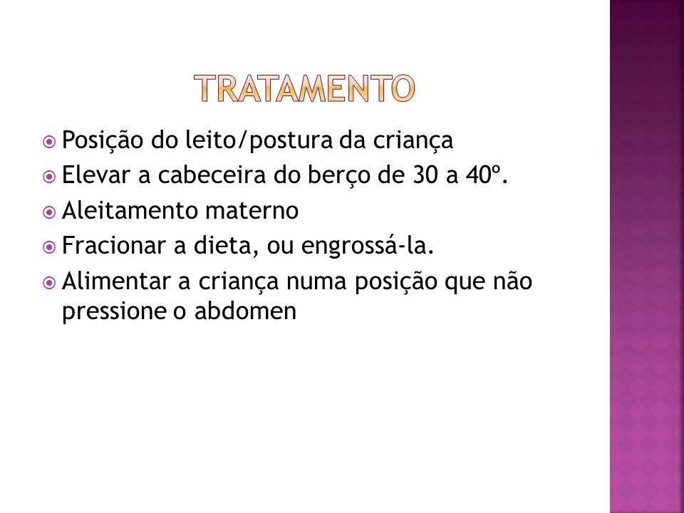  Posição do leito/postura da criança  Elevar a cabeceira do berço de 30 a 40º.  Aleitamento materno  Fracionar a dieta, ou engrossá-la.  Alimenta