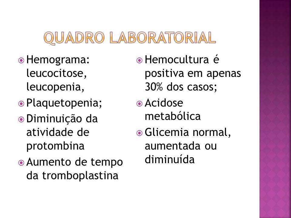  Hemograma: leucocitose, leucopenia,  Plaquetopenia;  Diminuição da atividade de protombina  Aumento de tempo da tromboplastina  Hemocultura é po