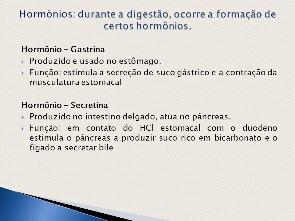 Hormônio - Gastrina  Produzido e usado no estômago.  Função: estimula a secreção de suco gástrico e a contração da musculatura estomacal Hormônio -