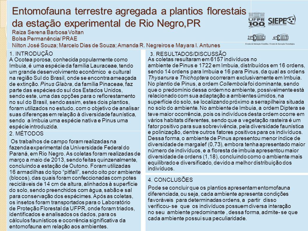 Entomofauna terrestre agregada a plantios florestais da estação experimental de Rio Negro,PR Raiza Serena Barbosa Voltan Bolsa Permanência/ PRAE Nilton José Souza; Marcelo Dias de Souza; Amanda R.