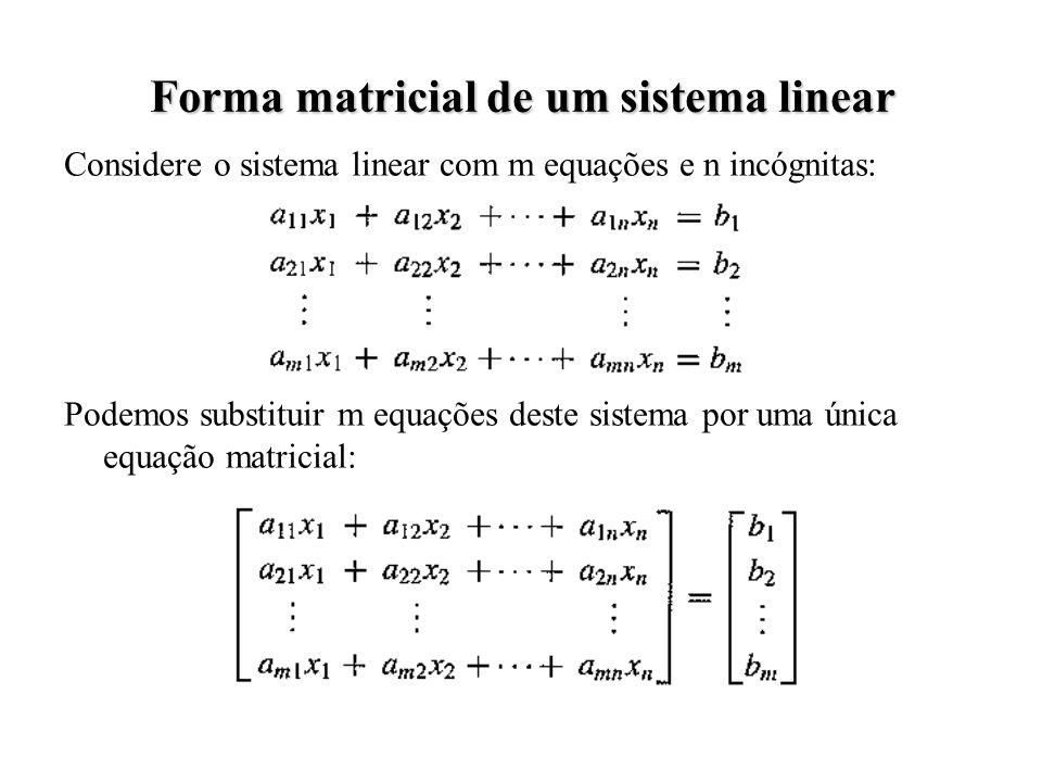 Considere o sistema linear com m equações e n incógnitas: Podemos substituir m equações deste sistema por uma única equação matricial: Forma matricial