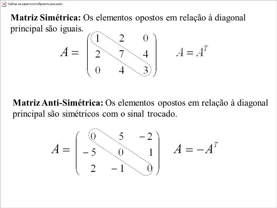 Se A é uma matriz quadrada então o traço de A, denotado por tr(A), é definido pela soma das entradas na diagonal principal de A.