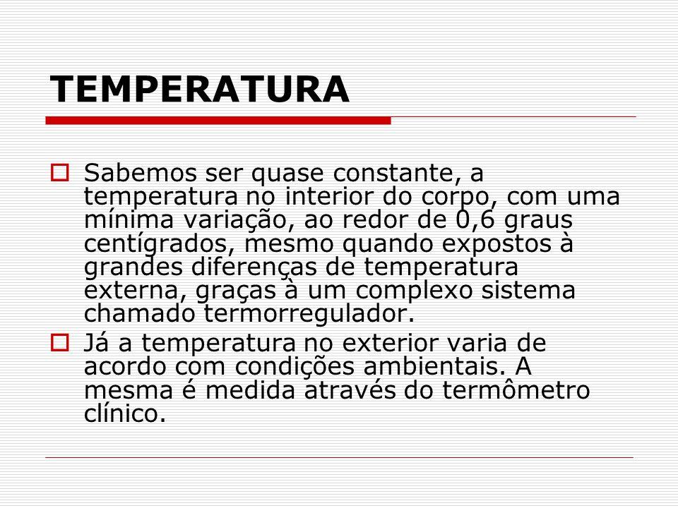 TEMPERATURA  Sabemos ser quase constante, a temperatura no interior do corpo, com uma mínima variação, ao redor de 0,6 graus centígrados, mesmo quand