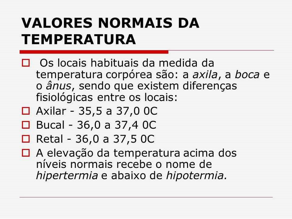VALORES NORMAIS DA TEMPERATURA  Os locais habituais da medida da temperatura corpórea são: a axila, a boca e o ânus, sendo que existem diferenças fis