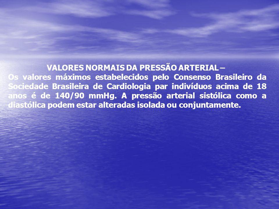 VALORES NORMAIS DA PRESSÃO ARTERIAL – Os valores máximos estabelecidos pelo Consenso Brasileiro da Sociedade Brasileira de Cardiologia par indivíduos