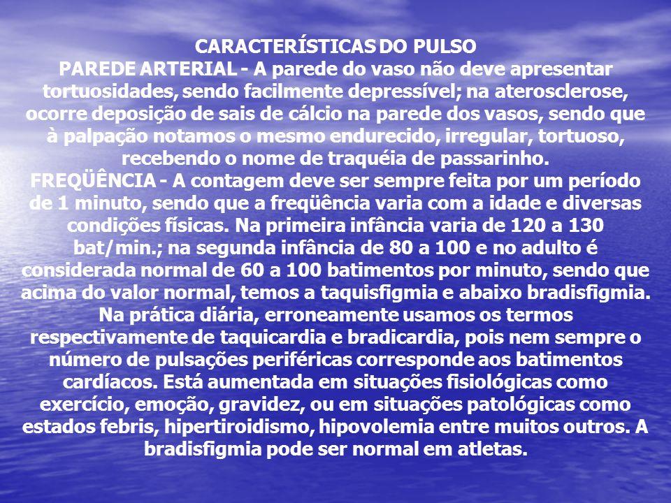 CARACTERÍSTICAS DO PULSO PAREDE ARTERIAL - A parede do vaso não deve apresentar tortuosidades, sendo facilmente depressível; na aterosclerose, ocorre