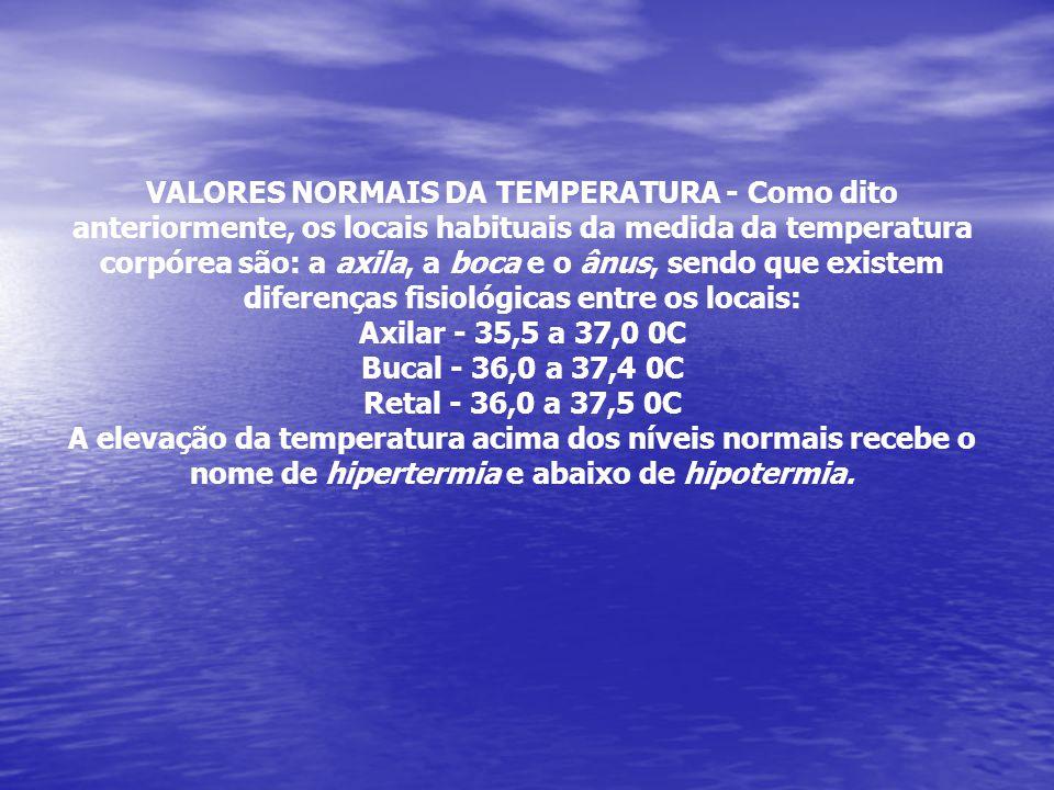 VALORES NORMAIS DA TEMPERATURA - Como dito anteriormente, os locais habituais da medida da temperatura corpórea são: a axila, a boca e o ânus, sendo q