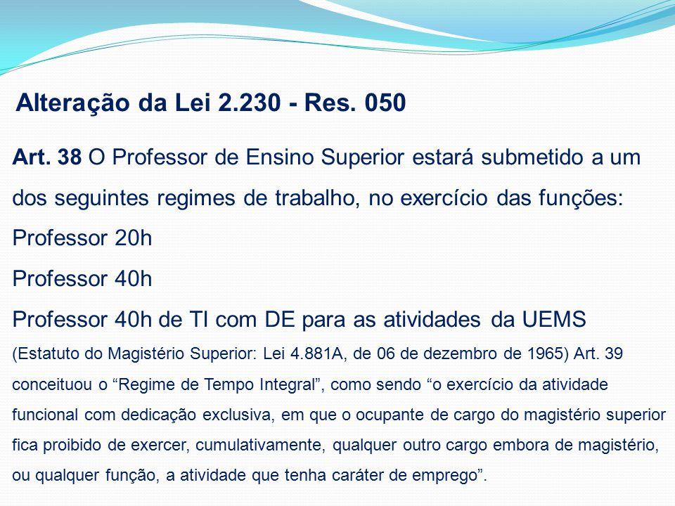 Alteração da Lei 2.230 - Res. 050 Art.