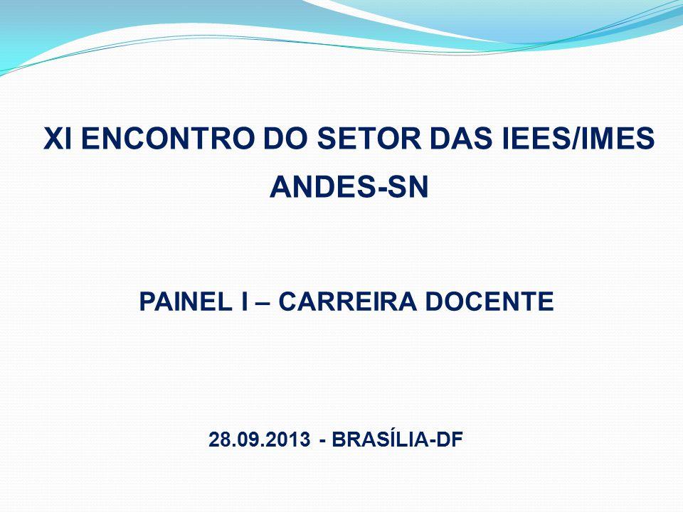 XI ENCONTRO DO SETOR DAS IEES/IMES ANDES-SN PAINEL I – CARREIRA DOCENTE 28.09.2013 - BRASÍLIA-DF