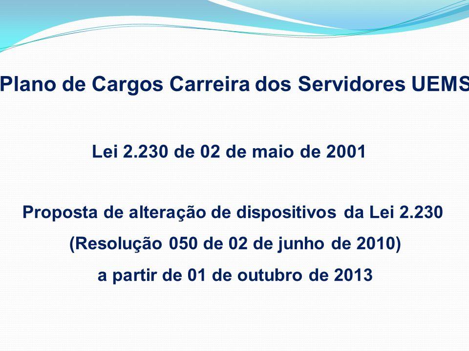 Lei 2.230 de 02 de maio de 2001 Proposta de alteração de dispositivos da Lei 2.230 (Resolução 050 de 02 de junho de 2010) a partir de 01 de outubro de 2013 Plano de Cargos Carreira dos Servidores UEMS
