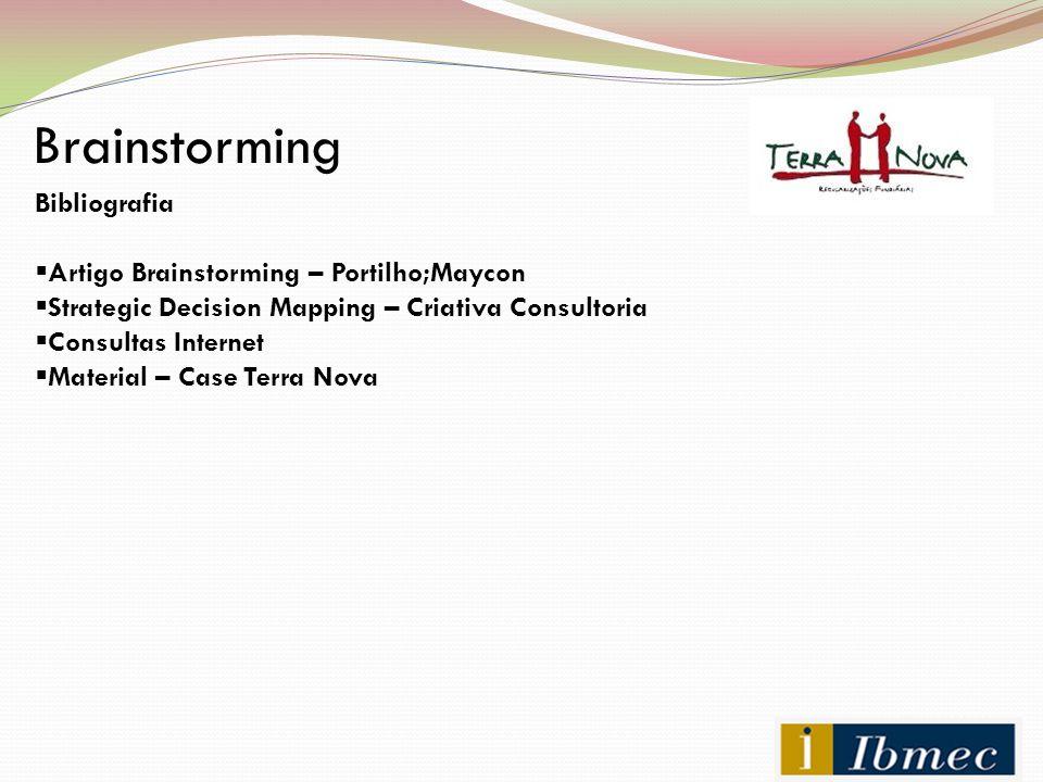 Brainstorming Bibliografia  Artigo Brainstorming – Portilho;Maycon  Strategic Decision Mapping – Criativa Consultoria  Consultas Internet  Materia