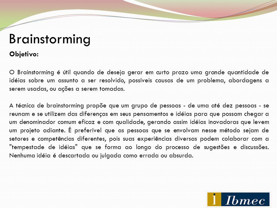 Brainstorming Objetivo: O Brainstorming é útil quando de deseja gerar em curto prazo uma grande quantidade de idéias sobre um assunto a ser resolvido,