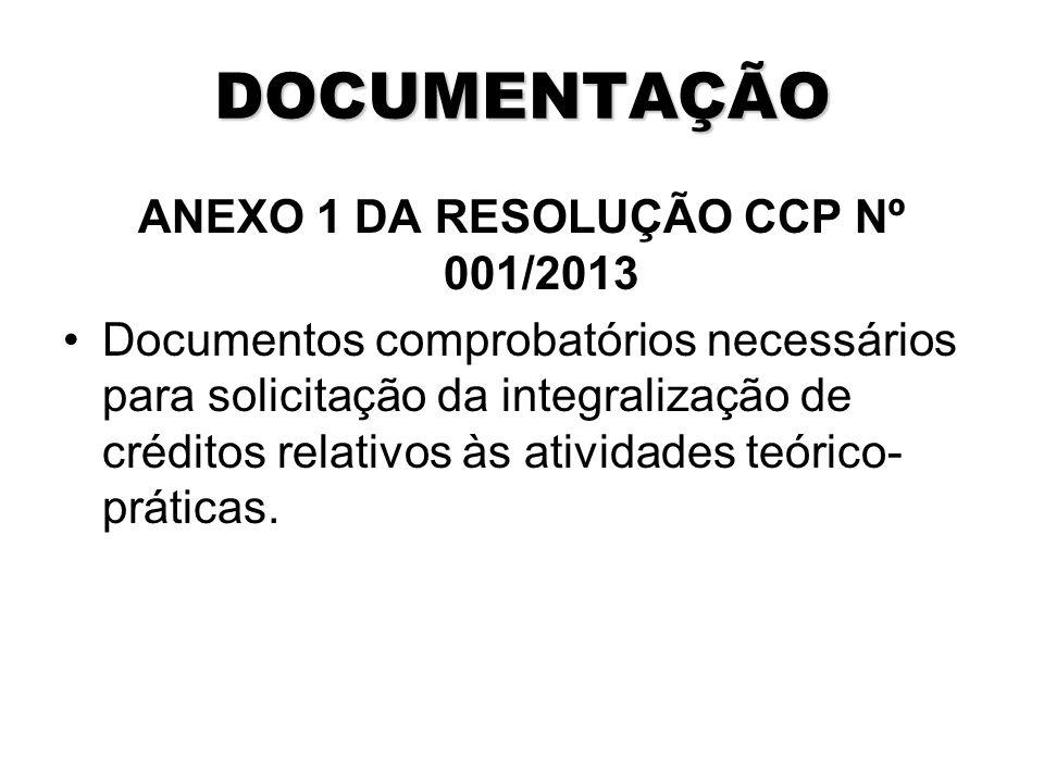 DOCUMENTAÇÃO ANEXO 1 DA RESOLUÇÃO CCP Nº 001/2013 Documentos comprobatórios necessários para solicitação da integralização de créditos relativos às atividades teórico- práticas.