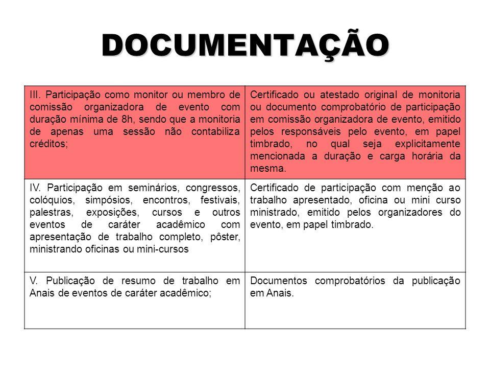 DOCUMENTAÇÃO III.