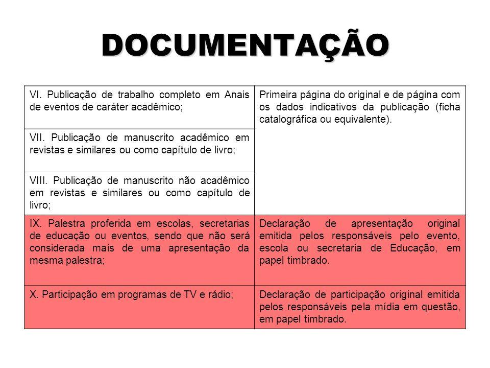 DOCUMENTAÇÃO VI.