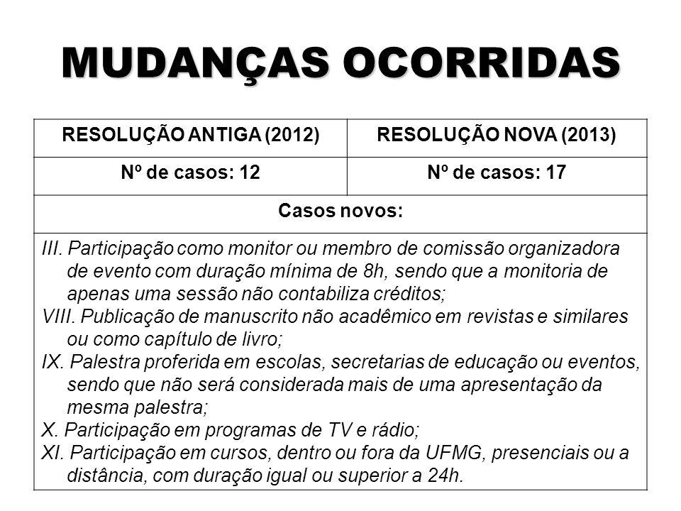 MUDANÇAS OCORRIDAS RESOLUÇÃO ANTIGA (2012)RESOLUÇÃO NOVA (2013) Nº de casos: 12Nº de casos: 17 Casos novos: III.