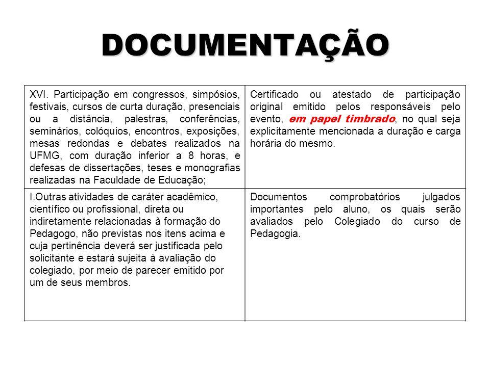 DOCUMENTAÇÃO XVI.