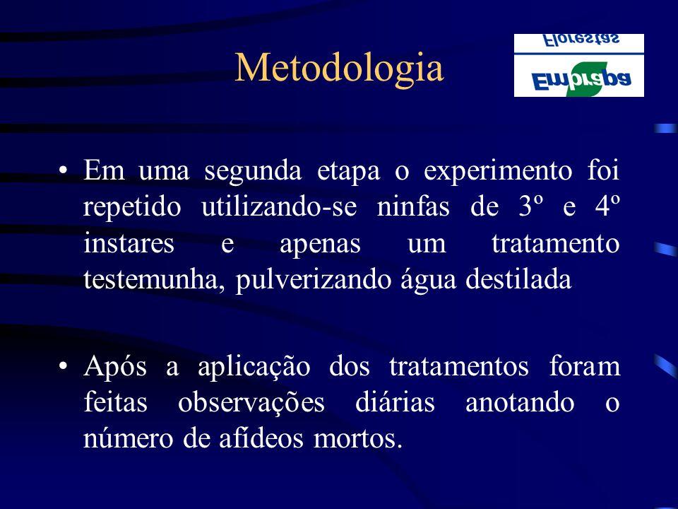 Metodologia Em uma segunda etapa o experimento foi repetido utilizando-se ninfas de 3º e 4º instares e apenas um tratamento testemunha, pulverizando á