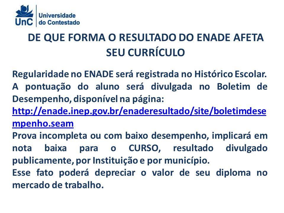 DE QUE FORMA O RESULTADO DO ENADE AFETA SEU CURRÍCULO Regularidade no ENADE será registrada no Histórico Escolar.